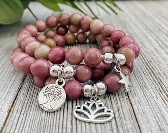 Rhodonite Bracelet / Bracelets For Women / Stretch Bracelet / Gift For Her / Charm Bracelet / Birthday Gift / Beaded Bracelet