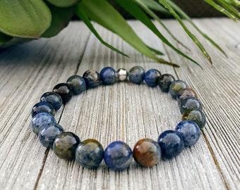 Dumortierite Bracelet, Gift for Mom, Bracelets for Women, Boho Jewelry, Gemstone Bracelet, Beaded Bracelet