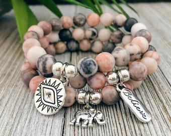 Pink Zebra Jasper Bracelet, Anxiety Relief Bead Bracelet For Women, Gift For Her, Healing Bracelet, Gift For Mom, Balancing