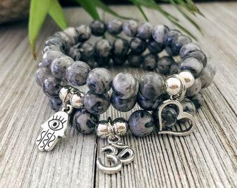 Gray Picasso Jasper Bracelet - Gift For Her Bracelets For Women Stretch Bracelets Charm Bracelet Yoga Bracelet Boho Bracelet