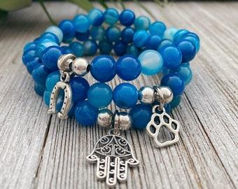 Blue Banded Agate Charm Bracelet, Gift For Mom, Bracelets For Women, Protection Bracelet, Gift For Her, Handmade Bracelet