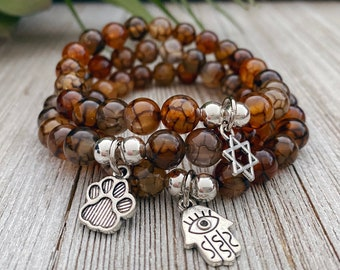 Coffee Dragon Vein Agate Bracelet, Protection Bracelet, Gift for Her, Spiritual Gifts, Gift for Mom, Bracelets For Women, Crystal Jewelry