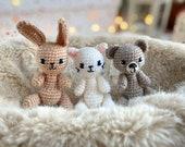 4 in 1 crochet pattern set for bear, bunny, kitty cat and fox, mini toys crochet pattern, amigurumi easy pattern, bundle of 4 patterns