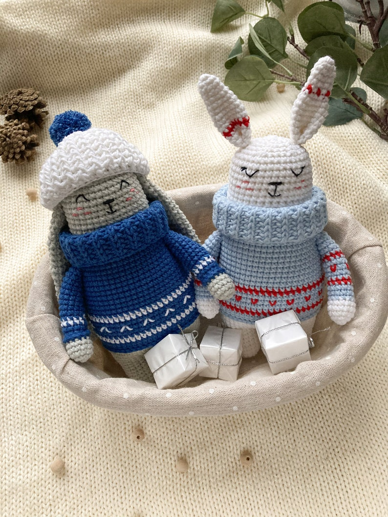 crochet DIY tutorial Christmas in July gift 2 in 1 Bunny crochet pattern easy amigurumi pattern rabbit crochet pattern