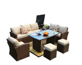 Luxury corner sofa vintage design rattan garden lounge sofa set outdoor deep seating sofa