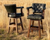 Ranch Bar Stool with Tufted Dark Green Leather Swivel