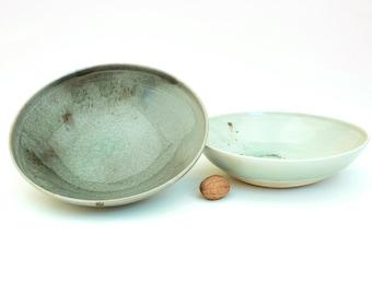 Pasta bowl without foot , 24 cm ,H 6-7 cm) / Serving bowl / Ramen bowl / Handmade • Ceramic tableware / Porcelain / Hand-turned