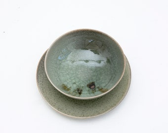 Snack bowls and snack plates small/plate *bowl * Handmade ceramics / Ceramic tableware / Porcelain / Seladon/ Hand-turned