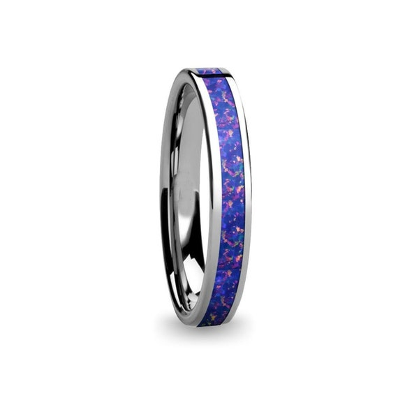 Deep Midnight Blue Opal Inlay Pink Flake Tungsten Wedding 4mm Ring Customise and choose from over 75 Opal Colours  3.2mm  4mm