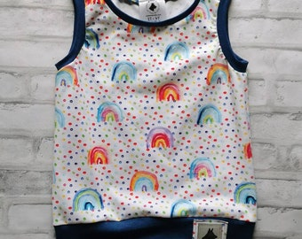 Grow With Me Neutral Rainbow Sleeveless Shirt, Tank Top, Kids Summer, Back To School, Unisex, Gender Neutral, Dots, Preschool, Multi Size