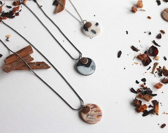 Minimal Necklace / Snake Chain, Polymer Clay Pendant / Mix & match necklaces