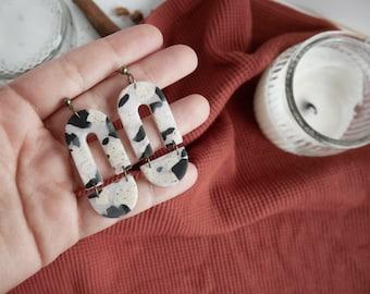 Translucent Pattern Statement Dangles / Black & White  / Polymer Clay Lightweight Modern Boho Earrings