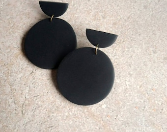 Black Minimal Clay Earrings / Lightweight Modern Boho Earrings / Handmade Polymer Clay Jewelry