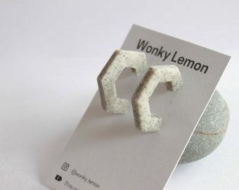 Minimal Polymer Clay Hexagon Hoops / Grey Polymer Clay Earrings / Monochrome Minimal Statement Earrings / Lightweight Gift Earrings