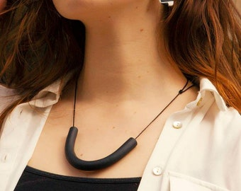 Minimal Polymer Clay Tube Necklaces / Handmade Waxed Cotton Cord Necklace / Statement Adjustable Necklace / Clay Jewelry / Lightweight