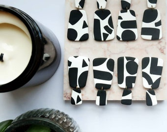 Black and White Geometric Polymer Clay Earrings / Lightweight Dangles / Contemporary Modern