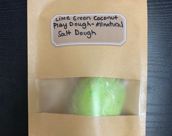 Lime Green Coconut All Natural Salt Play Dough