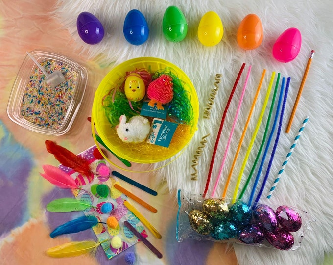 Rainbow Easter Sensory Play in a Bag & Basket