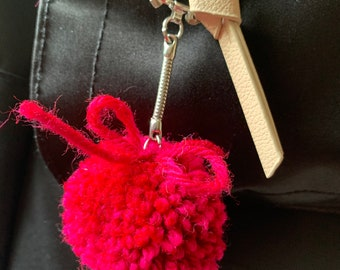 ANY COLOR / Flower / Fruit / Veggie Pom Pom Keychain (PM For Which One)