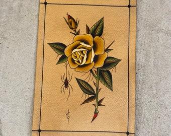 tattoo art rose artwork neotraditional botanical tattoo botanic print tattoo flash rose tattoo print wild flower painting
