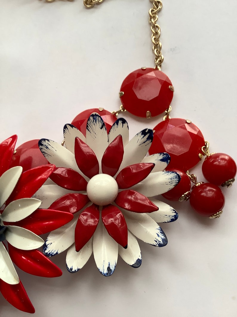Red white and blue vintage flower assemblage necklace