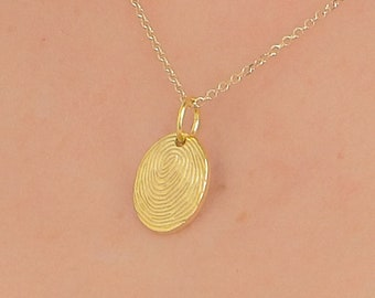 solid gold necklace 14K-9K, Silver, fingerprint necklace, oval shape, personalized necklace, custom, tiny, minimal, actual handwriting