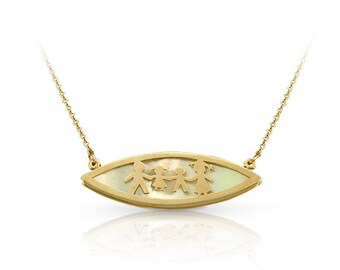Solid Gold 14K - Solid Gold 9K -Gold Necklace with Family - Gold Necklace Mother of Pearls - Gold Modern Necklace