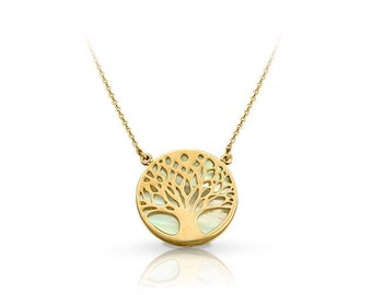 Solid Gold 14K - SolidGold 9K - Gold Necklace with Tree of life - Tree of life with Mother of pearl stone - Onyx