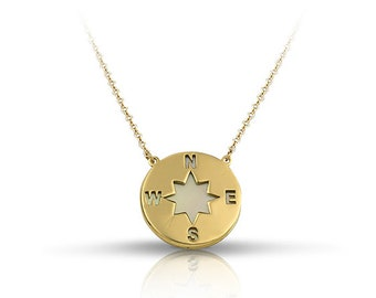 Necklace - Solid Gold 14K - 9K - Shape - Gift for her  - Handmade - Compass - Mother of pearl Necklace