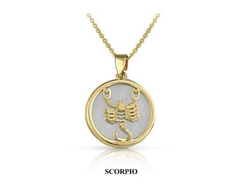 Solid Gold 14K - 9K Necklace - Shape - Gift for her - Circle - Handmade - Zodiac - Horoscope - Synthetic Ivory - Mother of pearl stone