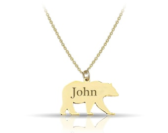 Necklace - Solid Gold 14K - 9K - Shape - Gift for her - Animal - Bear - Custom - Personalized - Handmade