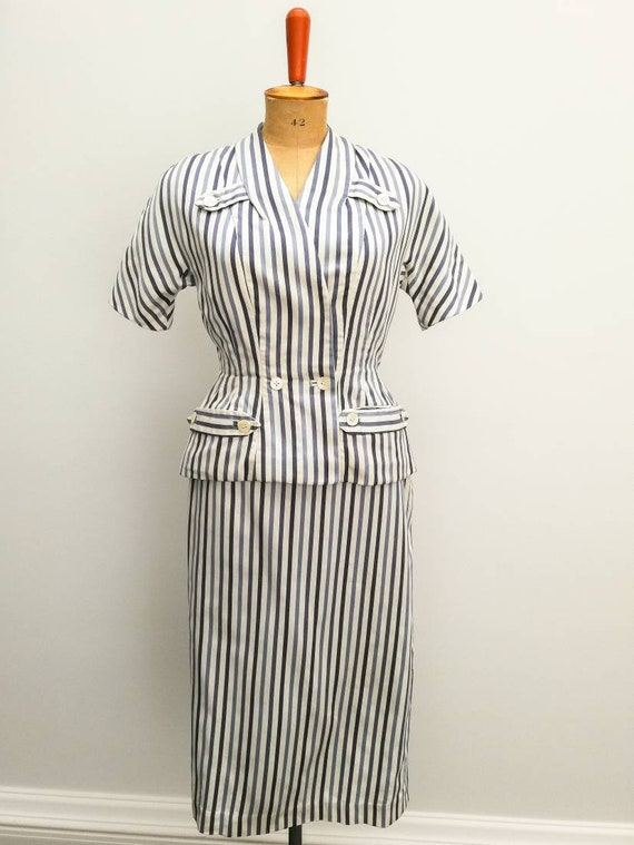 Vintage tailoring set. White and blue striped cott