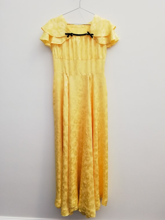 Daisies-patterned yellow viscose evening dress - 1