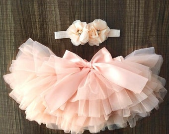FORESTIME Newborn Baby Girls Tutu Bloomers Diaper Cover Cotton Bowknot Tulle Bloomers and Headband Set