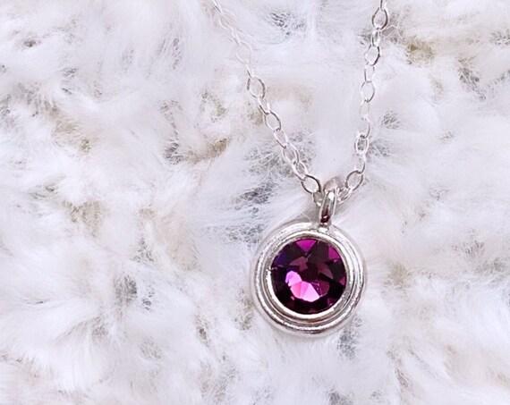 Purple Pointed Swarovski Crystal Charm Necklace | February Birthstone