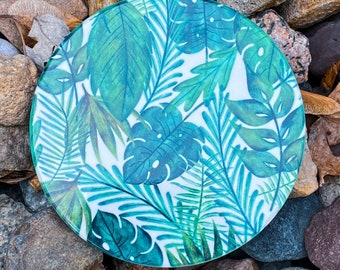 Green and White Leaf Inspired Coasters | One-of-a-kind