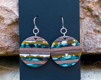 Translucent Color Blocked Wood and Resin Pendant Earrings (inspired by Ashley)