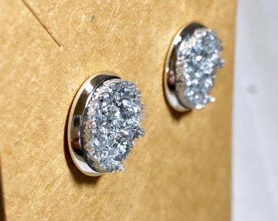 Silver Druzy Stud Earrings (12mm)