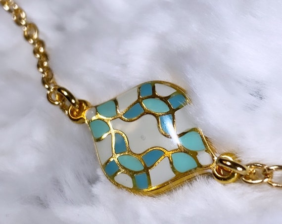 Turquoise Blue + White + Gold Curvy Tile Necklace