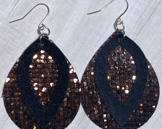 Scale Glitter & Soft Shimmer Black Faux Leather Earrings