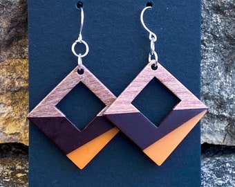 Black and Orange Color Blocked Wood Pendant Earrings (inspired by Dear Heart)