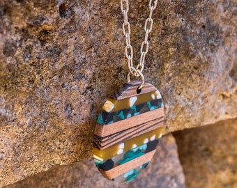 Translucent Color Blocked Wood and Resin Pendant Necklace (inspired by Dear Heart)
