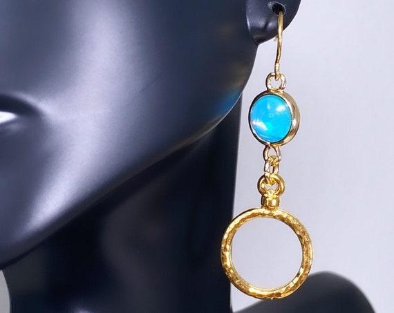 Light Blue Opalized Ice Round Earrings