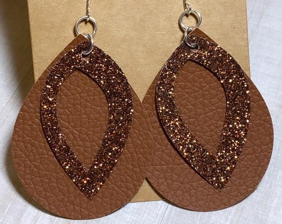 Brown Pebble & Glitter Faux Leather Earrings