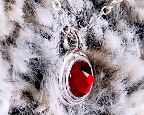 Deep Red Pointed Swarovski Crystal Charm Necklace | January Birthstone
