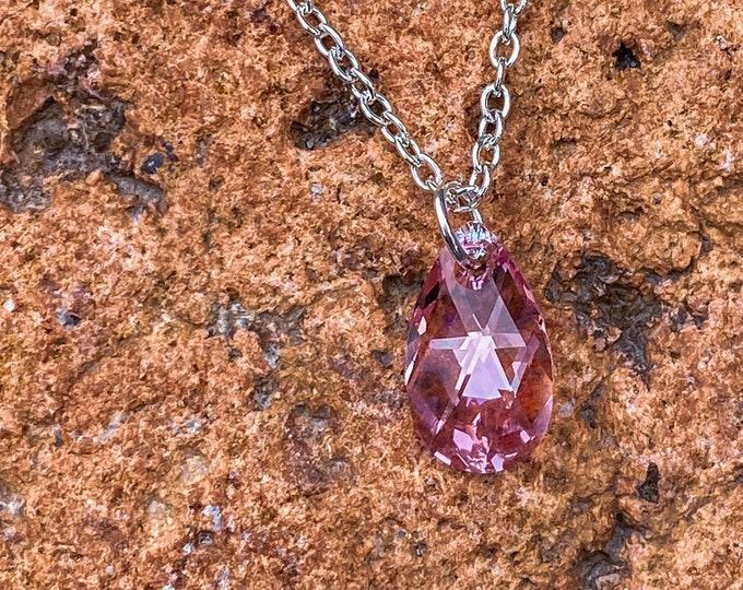 Light Shimmer Rose Swarovski Crystal Pendant Necklace (inspired by Dear Heart)
