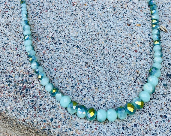 Mint + Aurora Borealis Glass Beaded Necklace