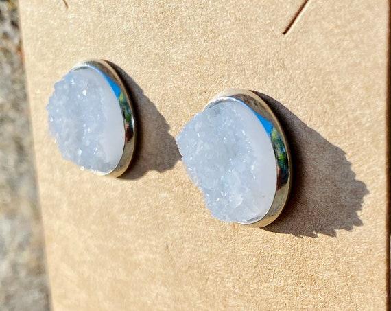 White Druzy Stud Earrings (12mm)