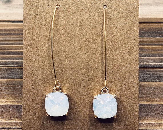 Hazy White Signature Glass Charm Earrings
