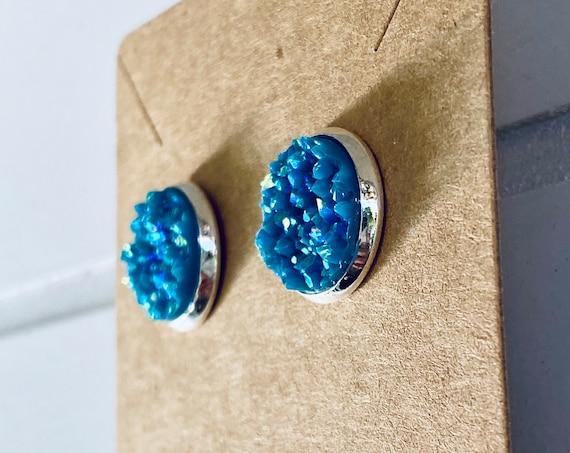 Blue Druzy Stud Earrings (12mm)